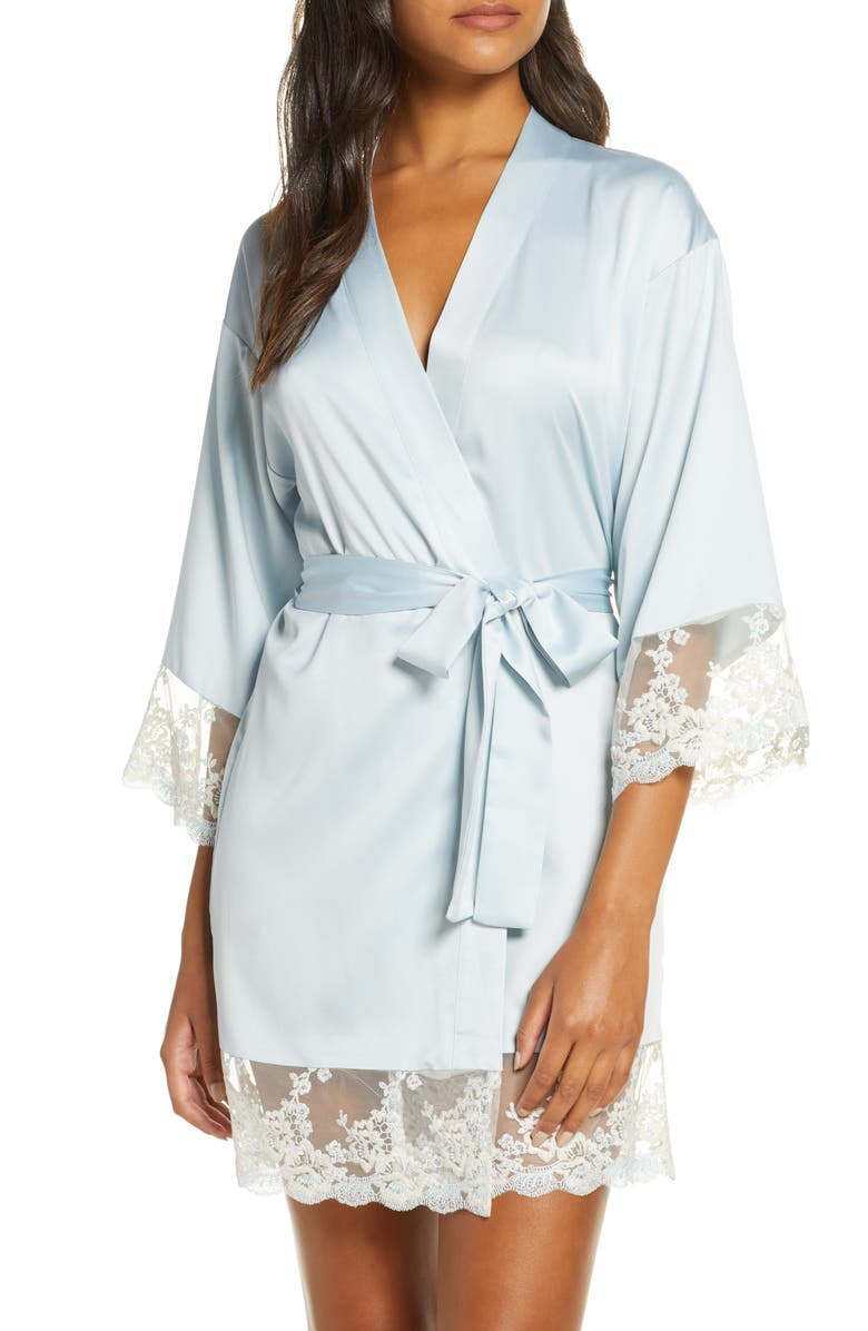 FLORA NIKROOZ Rosa Satin Robe, Main, color, ICE FLOW