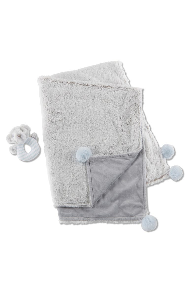 BABY ASPEN Luxury Blanket & Plush Rattle Set, Main, color, LIGHT GREY/ BLUE