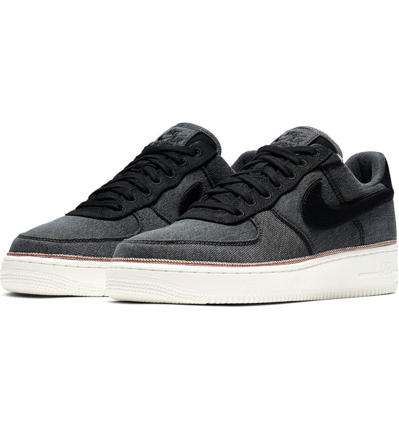 NIKE Air Force 1 '07 Premium Sneaker, Main, color, BLACK/ BLACK/ SUMMIT WHITE