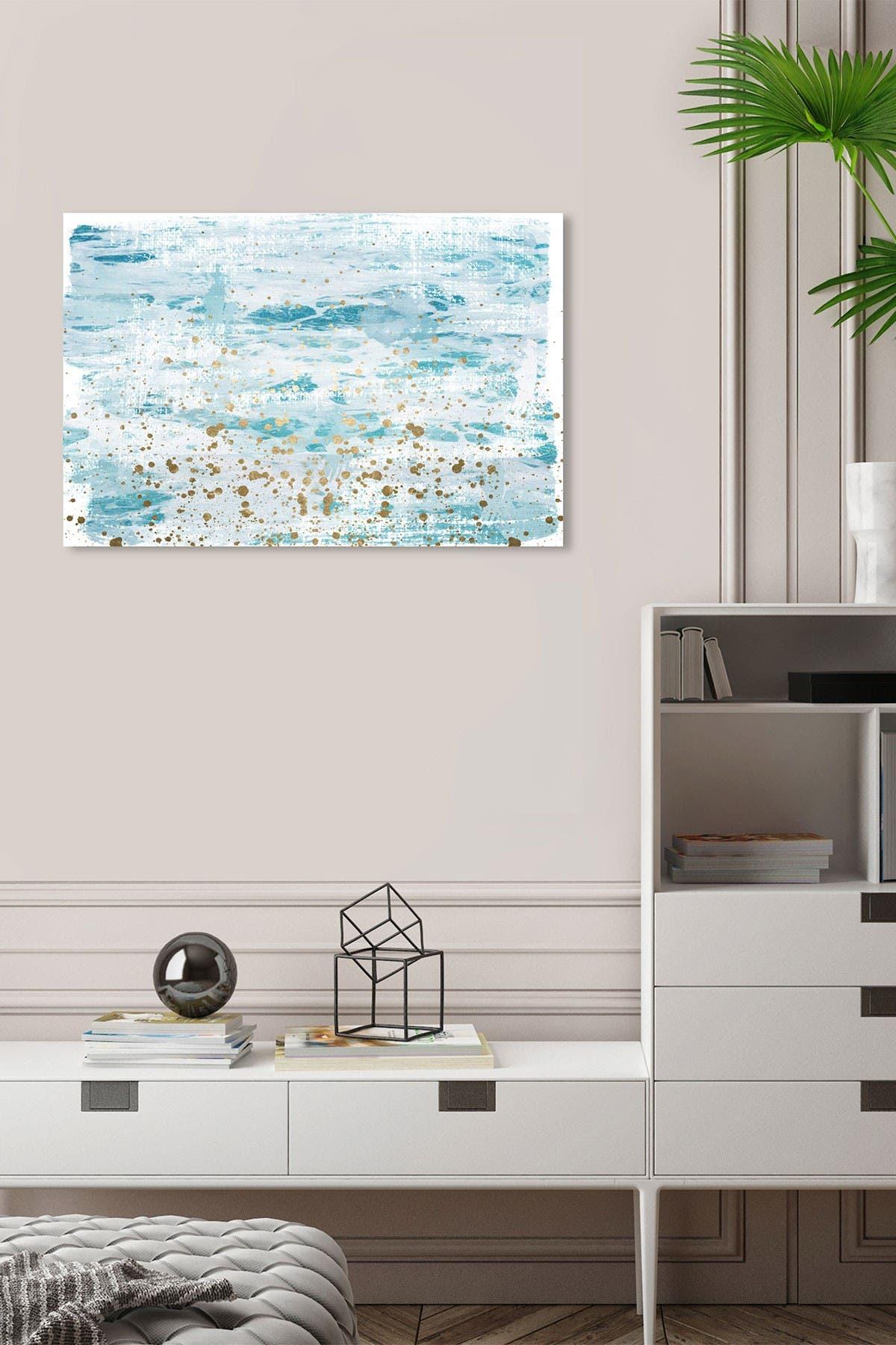 Image of Wynwood Studio Splashing Gold Blue Abstract Wall Art