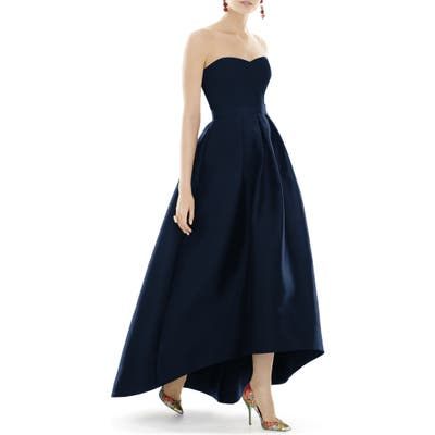 Plus Size Alfred Sung Strapless High/low Satin Twill Ballgown, Blue