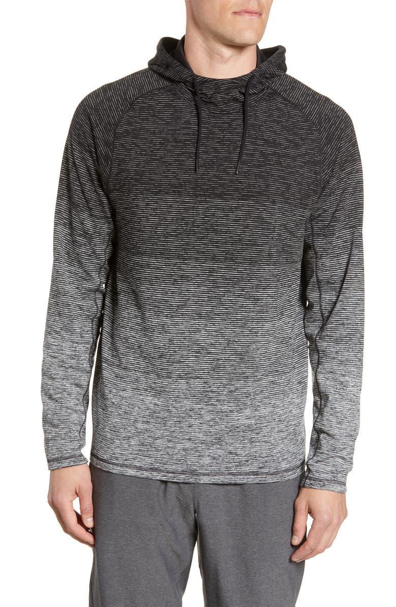 ZELLA Ombré Stripe Pullover Hoodie, Main, color, BLACK MELANGE STRIPE