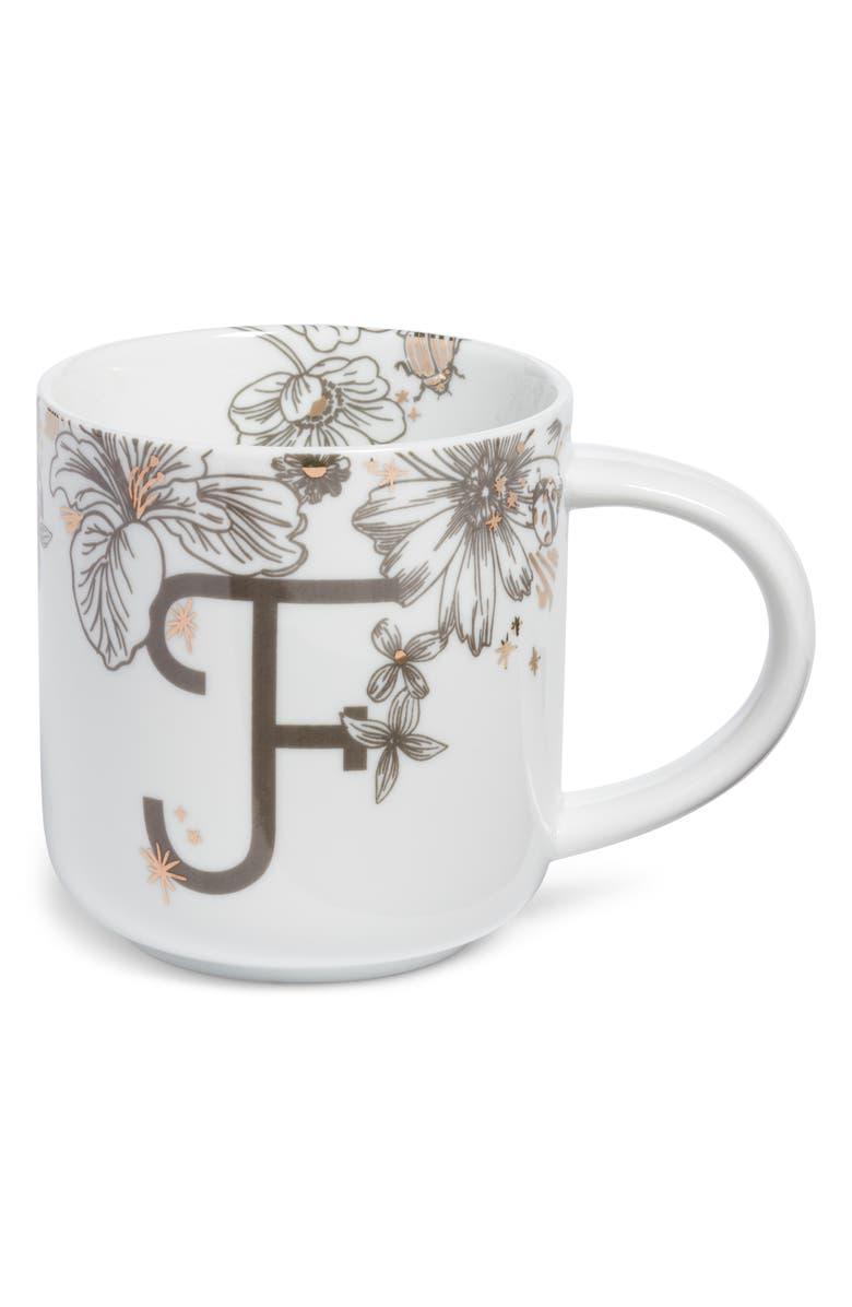 NORDSTROM AT HOME Floral Monogram Mug, Main, color, WHITE F