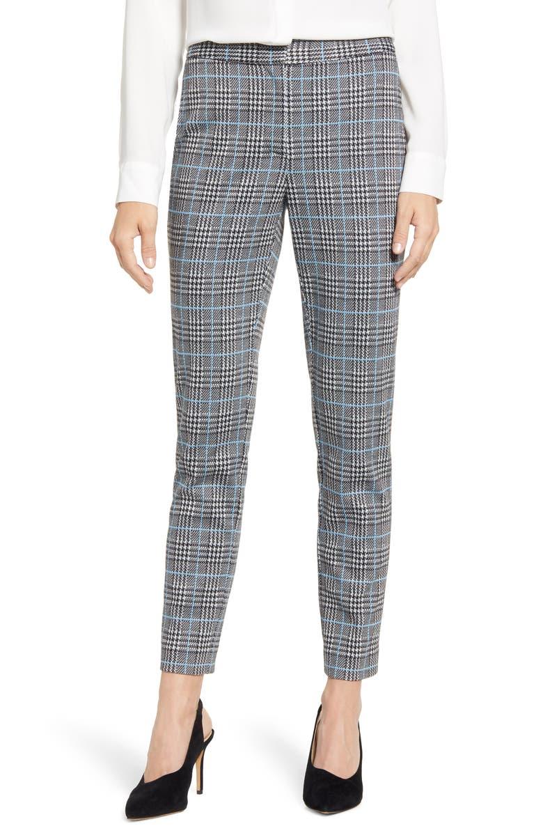VINCE CAMUTO Plaid Ankle Skinny Pants, Main, color, SERENE LAKE