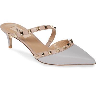 Valentino Garavani Rockstud Asymmetrical Strap Mule - Grey