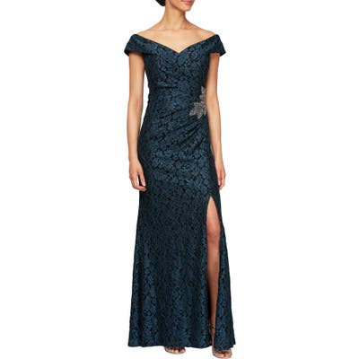 Petite Alex Evenings Off The Shoulder Beaded Gown, Black