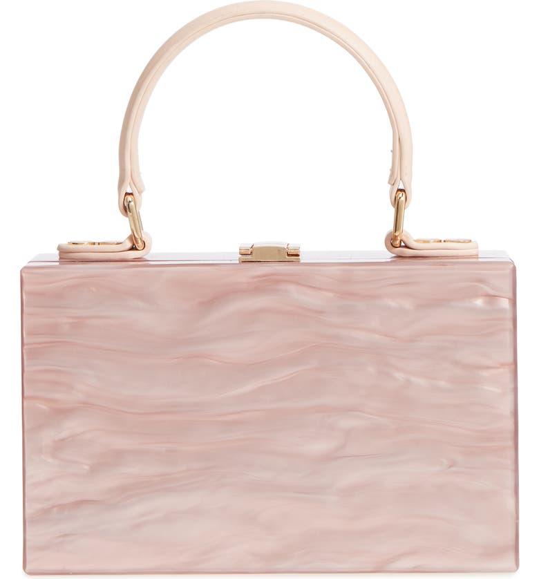 LIKE DREAMS Clara Top Handle Box Clutch, Main, color, Pink