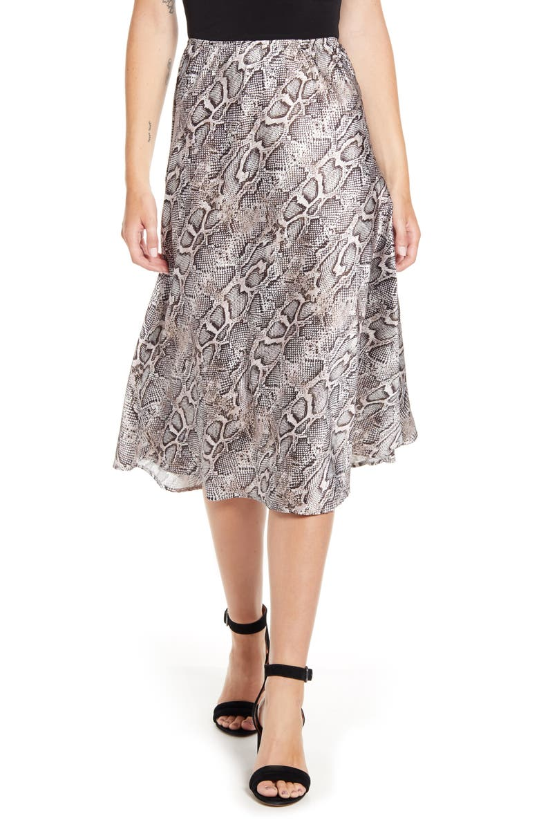 FRENCH CONNECTION Snake Print Satin Midi Skirt, Main, color, GREY SNAKE