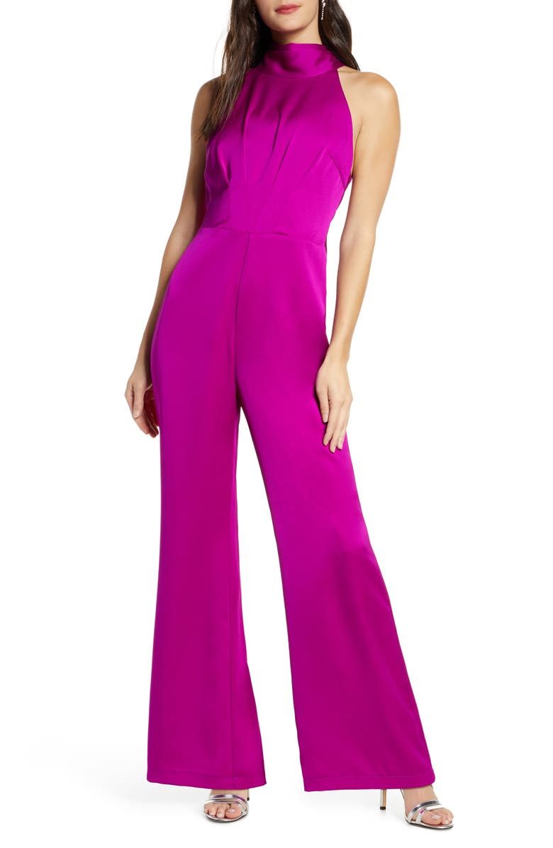 HARLYN Tie Back Satin Jumpsuit, Main, color, ORCHID