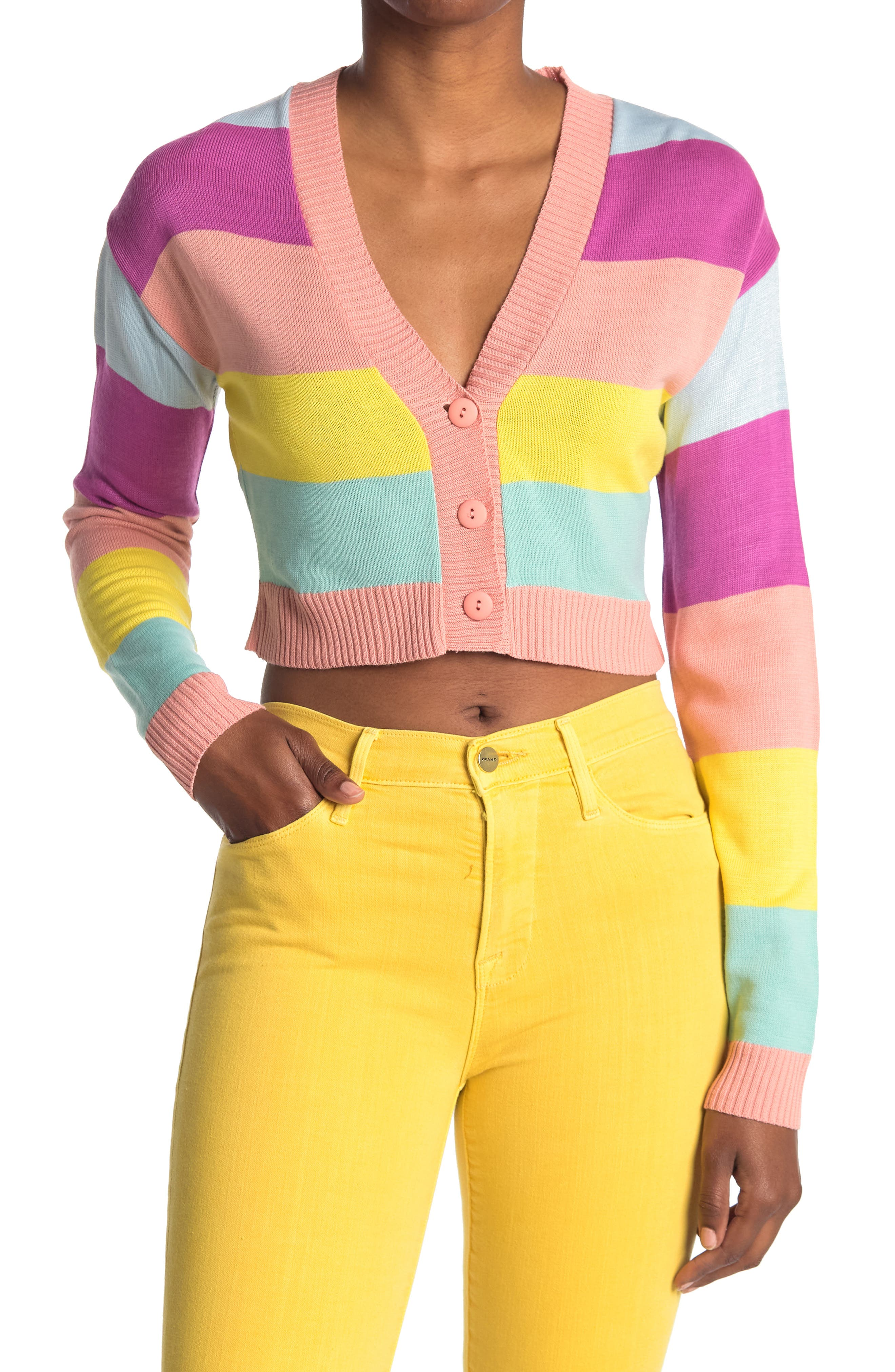Image of Abound Colorblock Stripe Button Front Cardigan