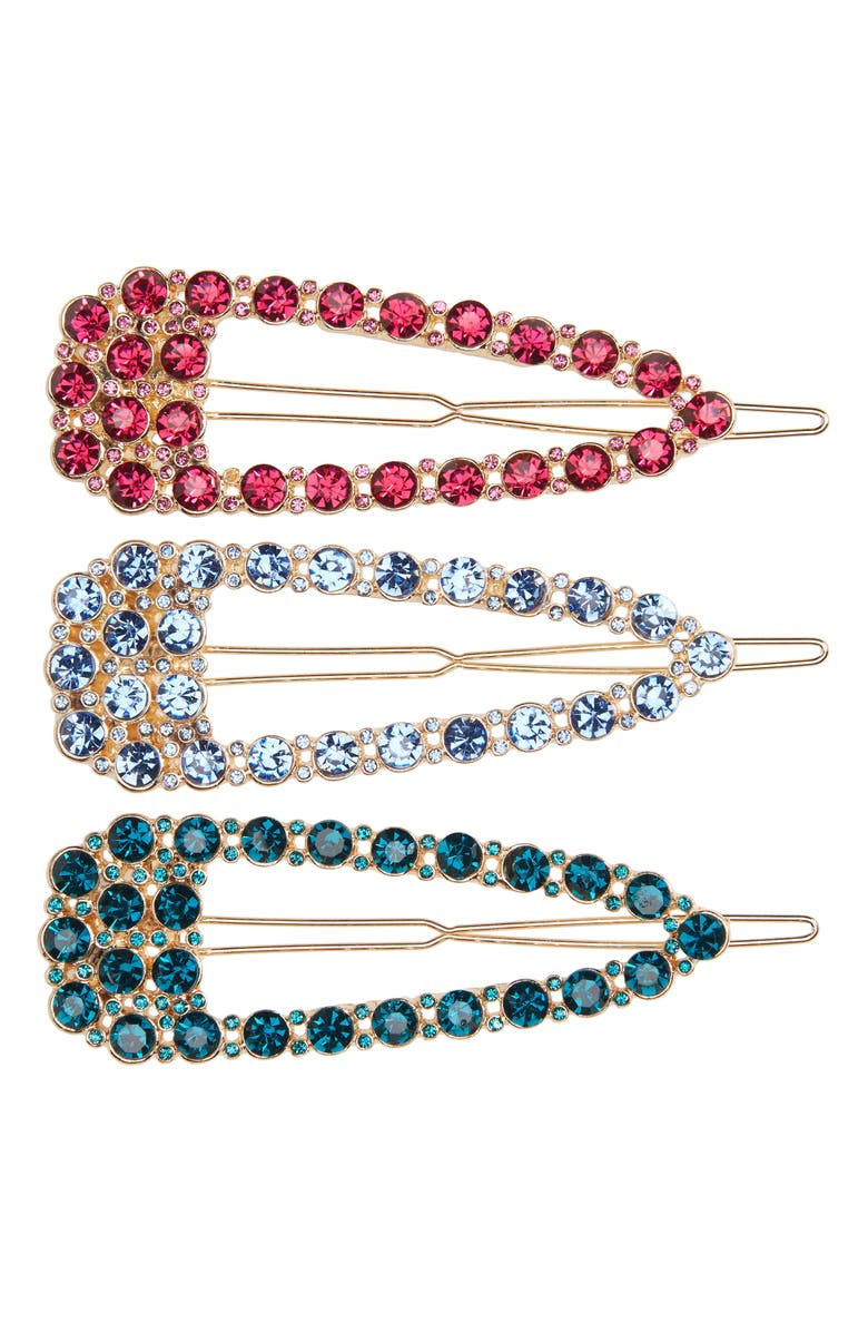 8 OTHER REASONS 3-Pack Crystal Embellished Barrettes, Main, color, 250