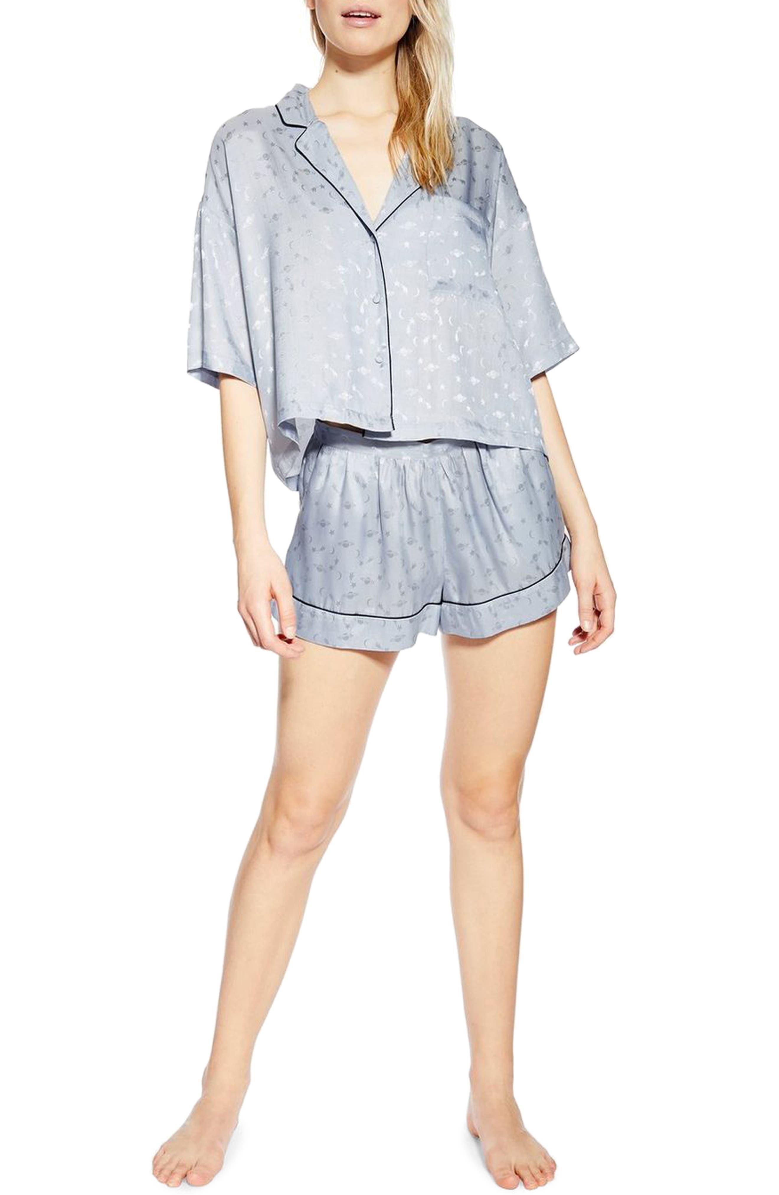 Topshop Space Jacquard Pajama Shorts, Blue
