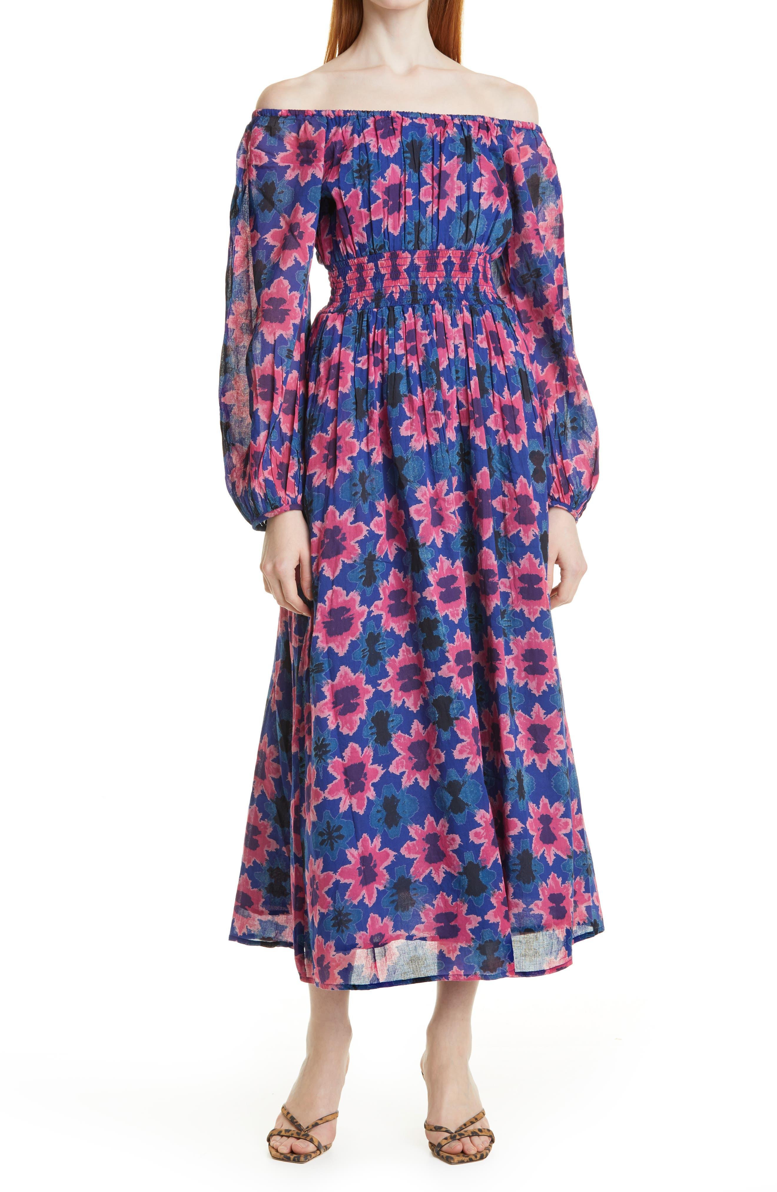 Daffodil Off The Shoulder Long Sleeve Midi Dress