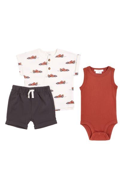 Firsts By Petit Lem Sets INFANT BOY'S PETIT LEM GRAND PRIX HENLEY, BODYSUIT & SHORTS SET