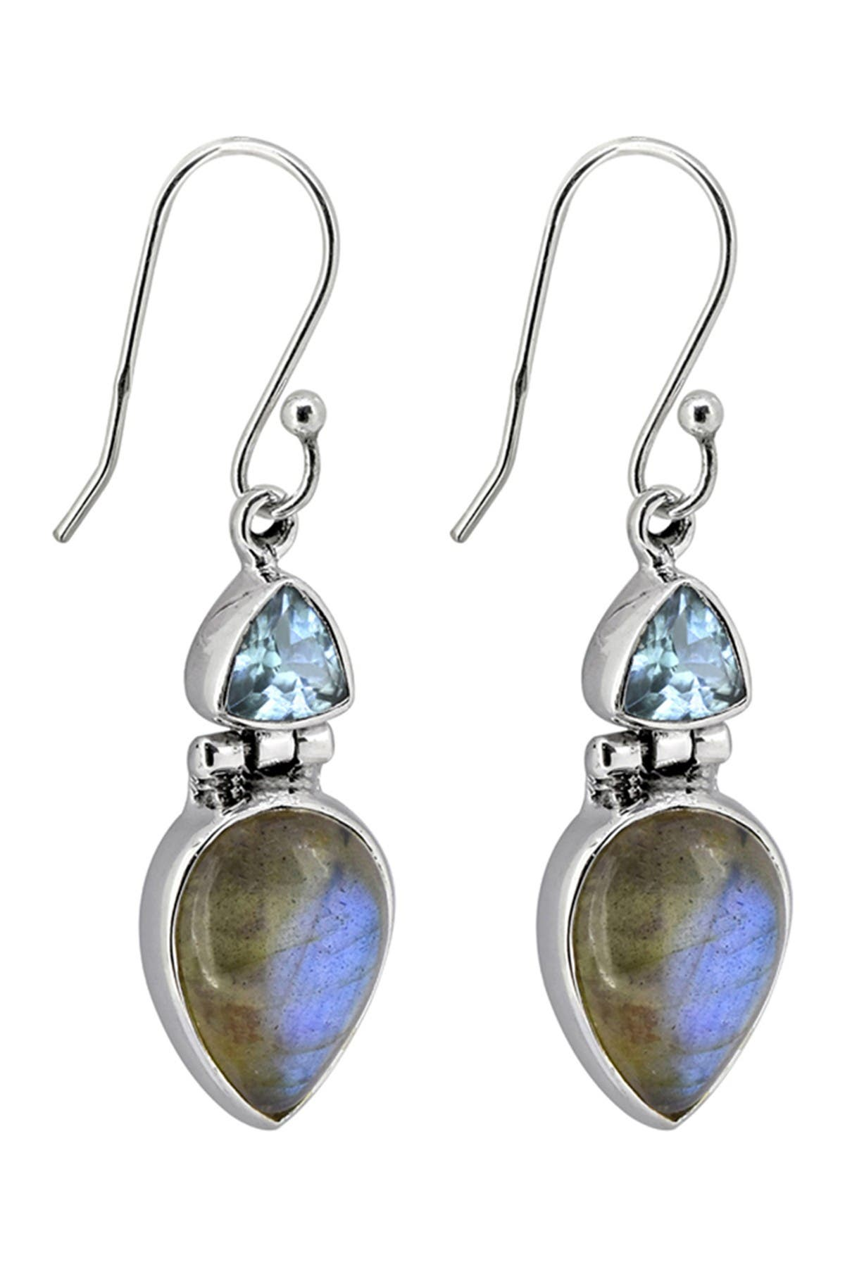 Image of Nitya Sterling Silver Labradorite Blue Topaz Earrings