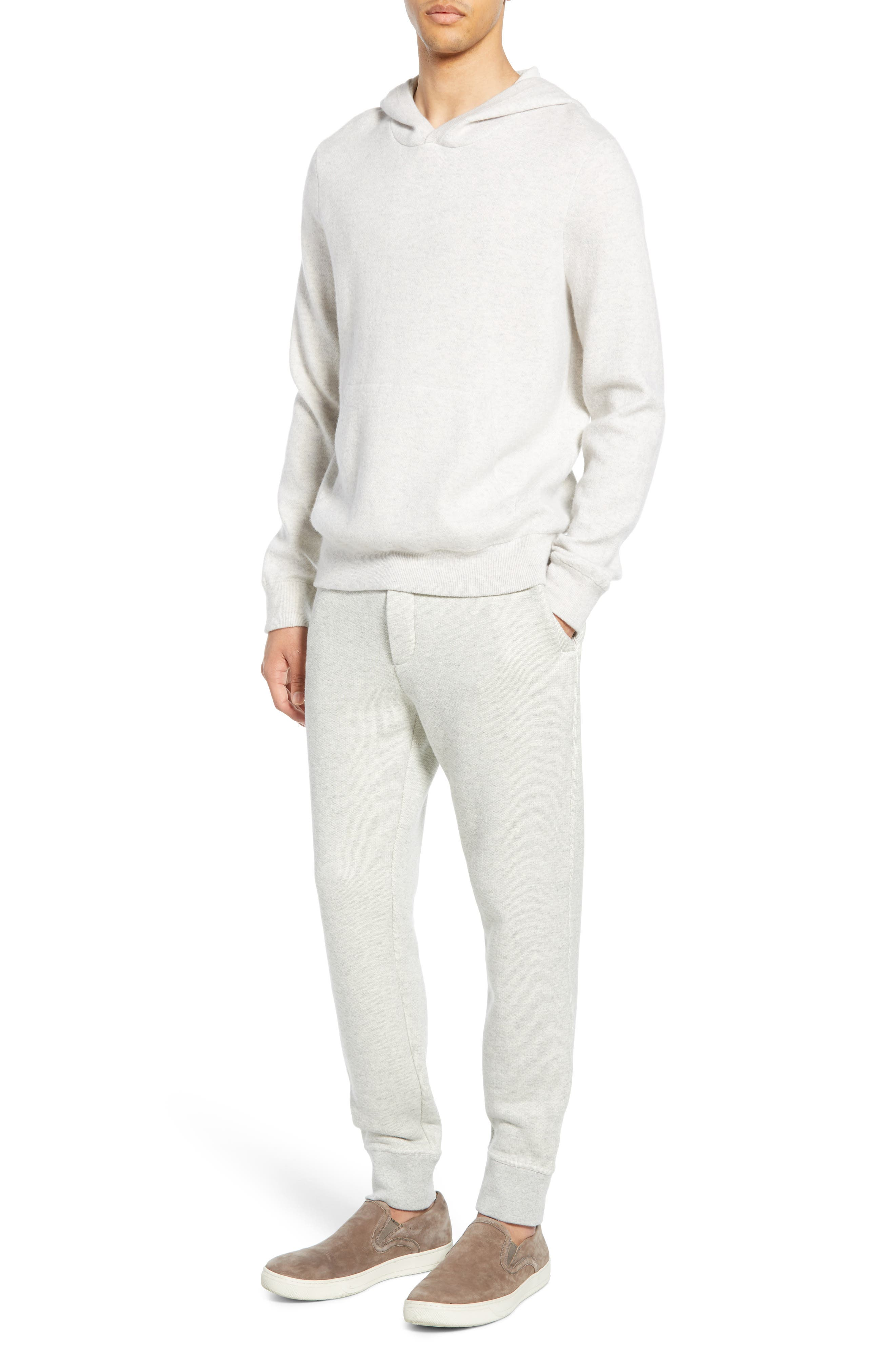 ,                             Wool & Cashmere Pullover Hoodie,                             Alternate thumbnail 7, color,                             H CLOUD/ OPTIC WHITE