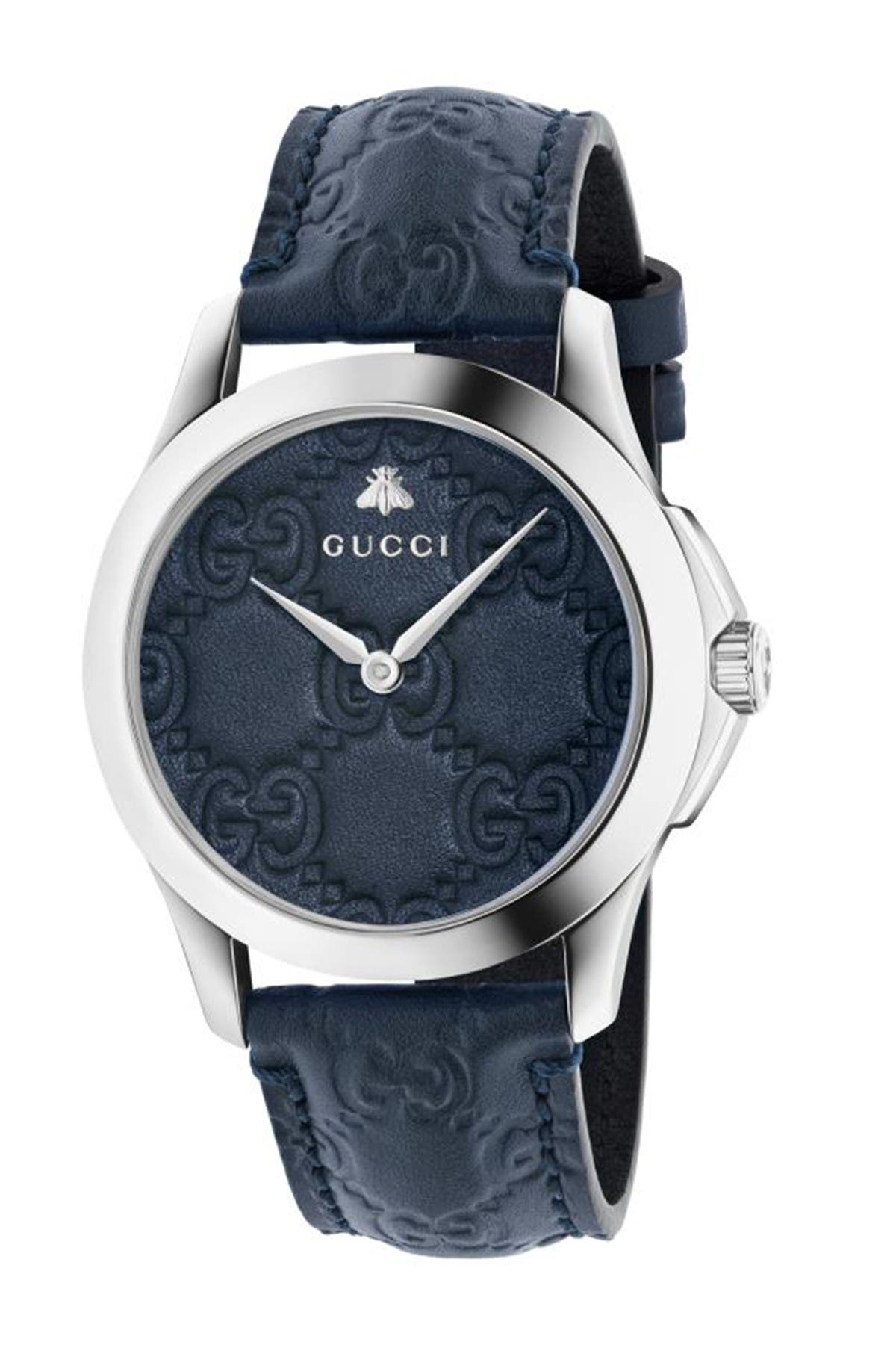 Image of GUCCI Unisex Embossed Brand Logo Leather Strap Watch, 38mm