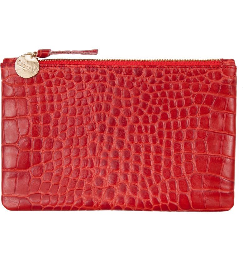CLARE V. Croc Embossed Leather Wallet Clutch, Main, color, 600