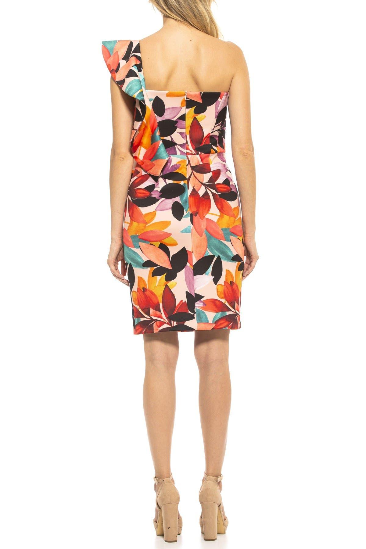 Image of Alexia Admor Victoria One Shoulder Ruffle Sleeve Dress