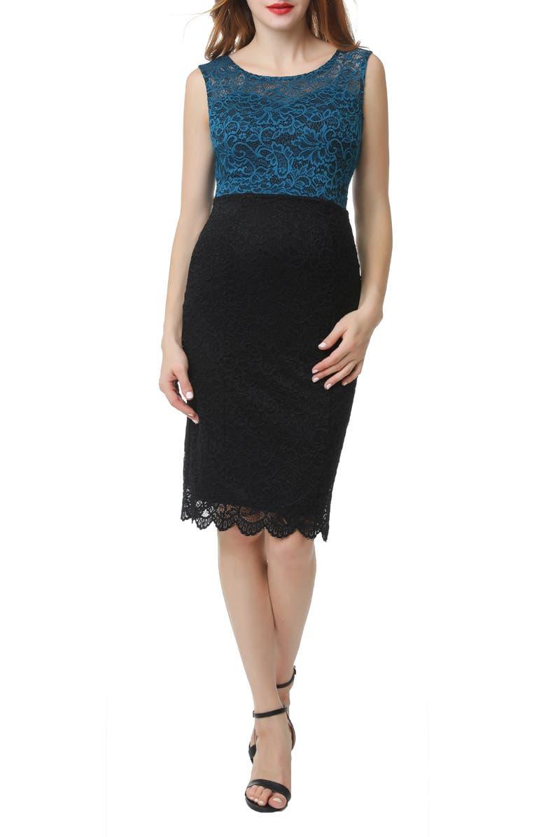 KIMI AND KAI Lace Maternity Sheath Dress, Main, color, BLACK/ TEAL
