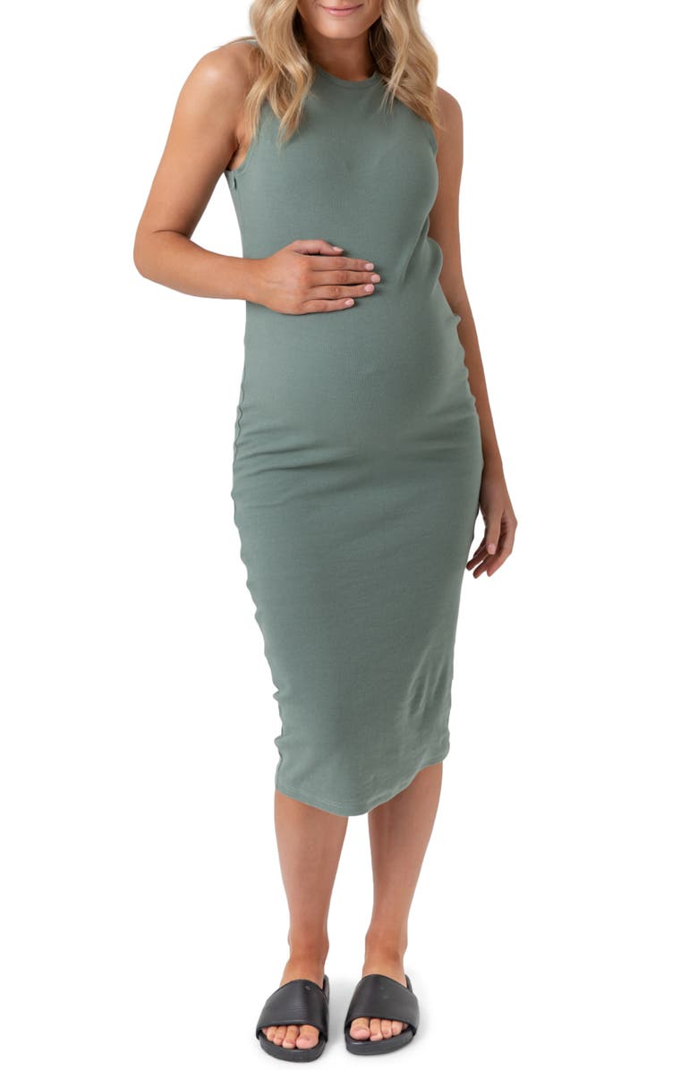LEGOE. Portugal Ribbed Midi Maternity/Nursing Tank Dress, Main, color, OLIVE