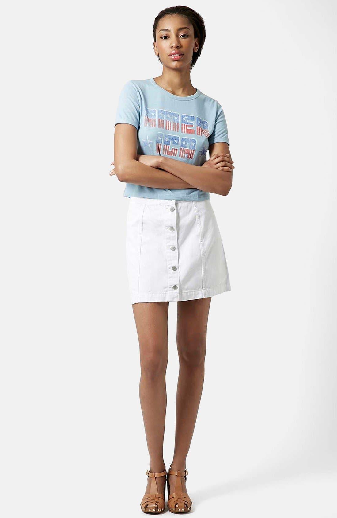 ,                             Moto Button Front Denim Skirt,                             Alternate thumbnail 5, color,                             100