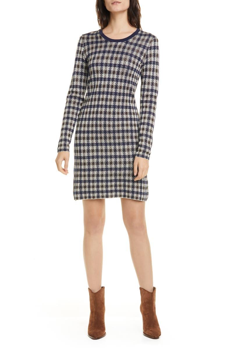 BAUM UND PFERDGARTEN Cabana Metallic Houndstooth Check Long Sleeve Sweater Dress, Main, color, 400