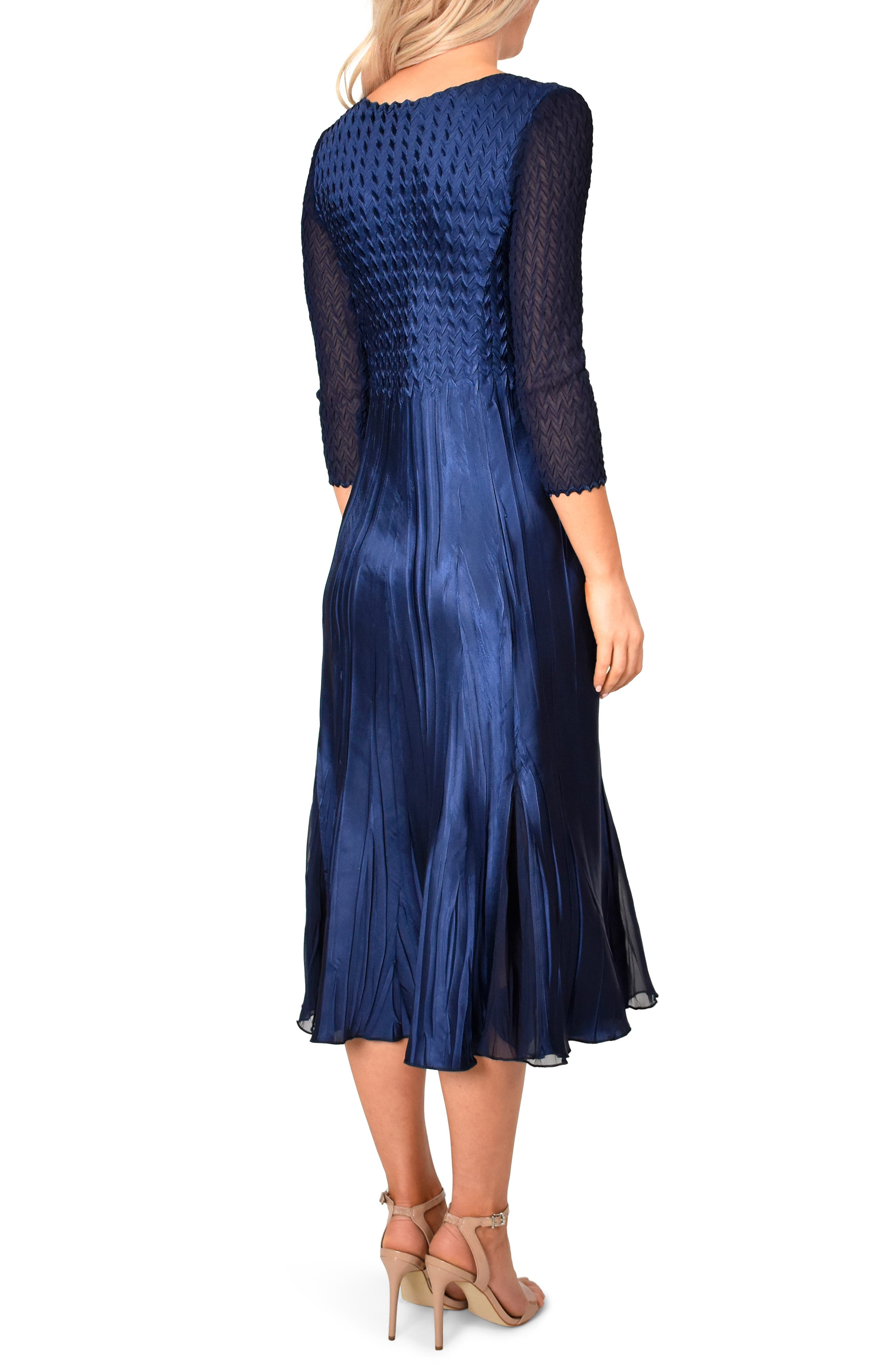 ,                             Kamarov Charmuese & Chiffon Dress,                             Alternate thumbnail 2, color,                             MIDNIGHT NAVY