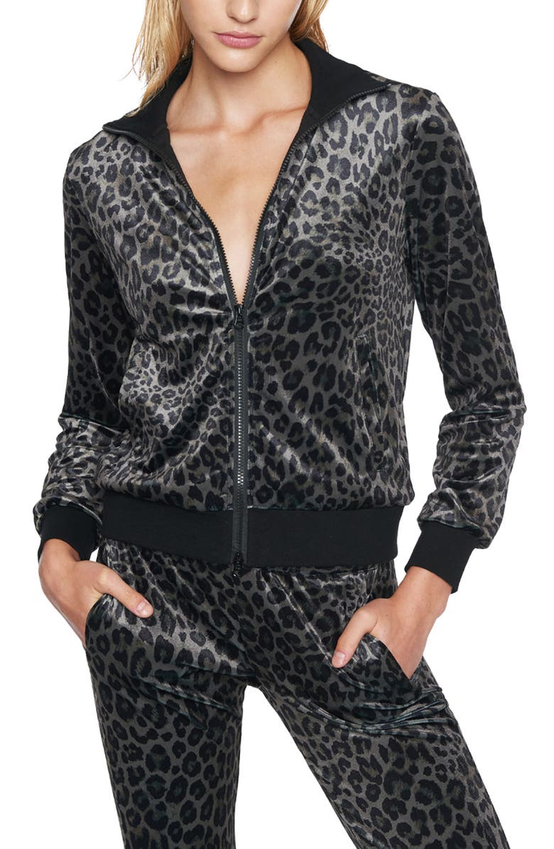 PAM & GELA Leopard Track Jacket, Main, color, LEOPARD