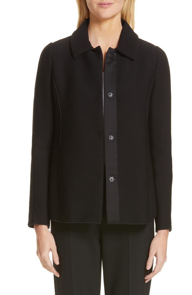 EMPORIO ARMANI Padded Ottoman Jacket, Main, color, BLACK