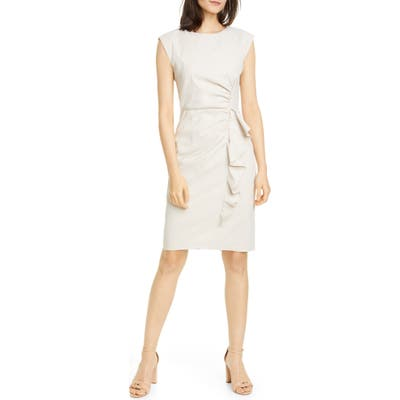 Tailored By Rebecca Taylor Ruffle Linen Blend Dress, Beige