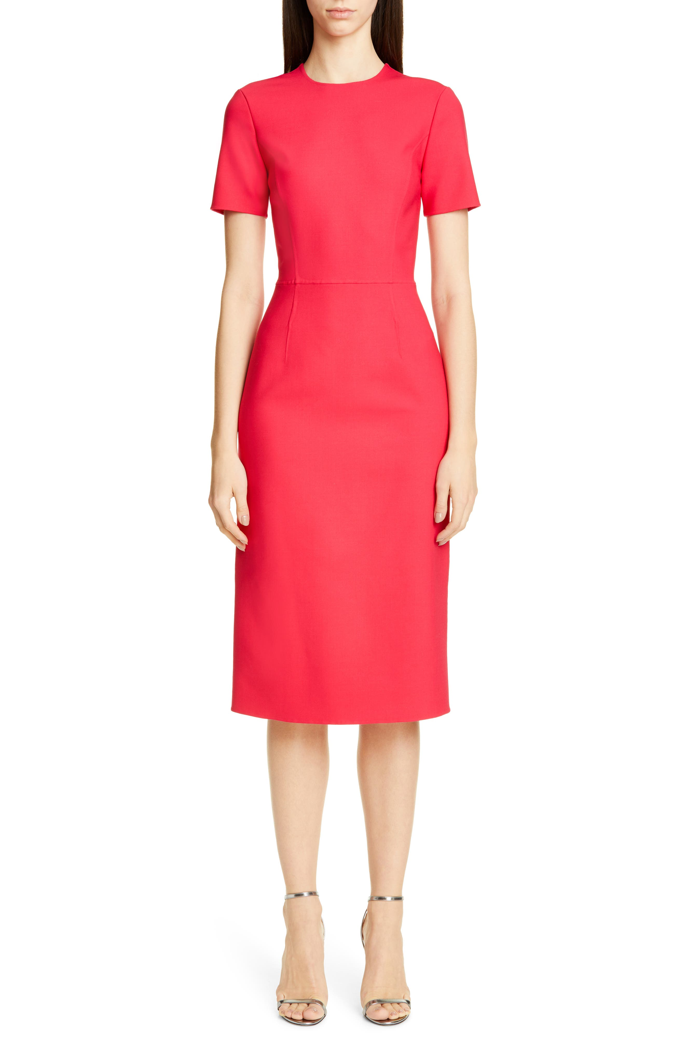 Carolina Herrera Double Face Sheath Dress, Red