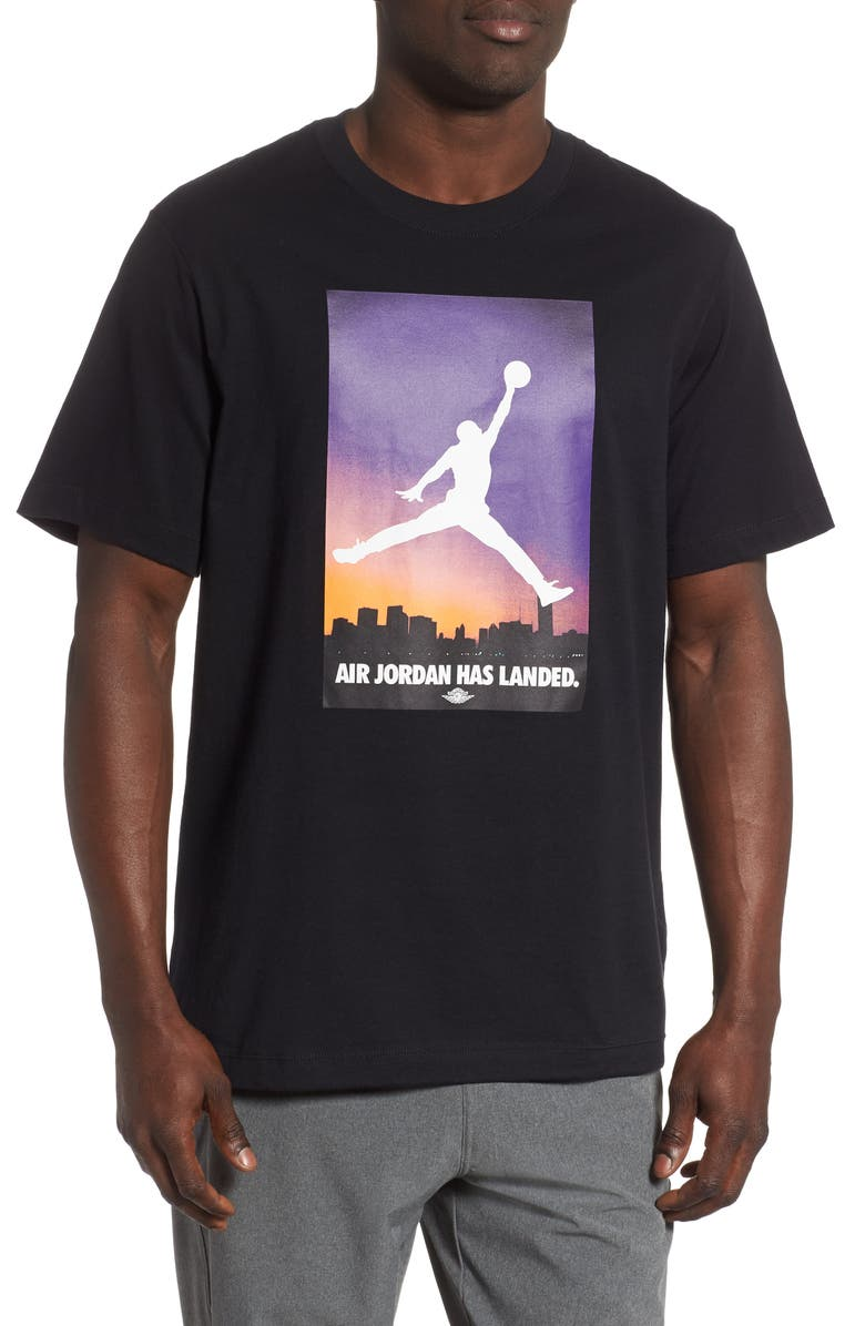 JORDAN Landed Graphic T-Shirt, Main, color, BLACK/ HALF BLUE