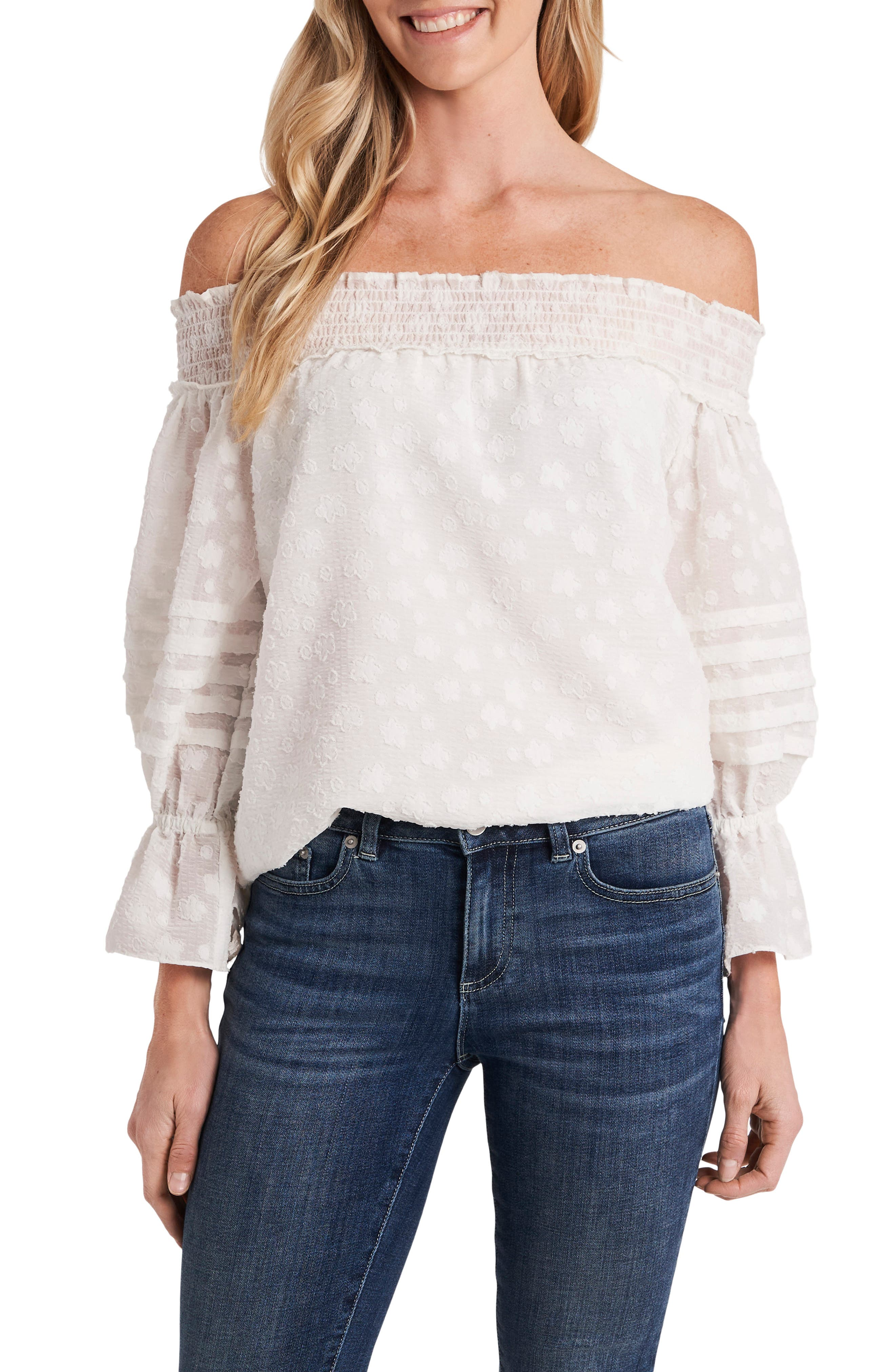 Pleated Sleeve Floral Clip Dot Chiffon Top