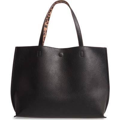 Street Level Reversible Faux Leather Tote & Wristlet - Black