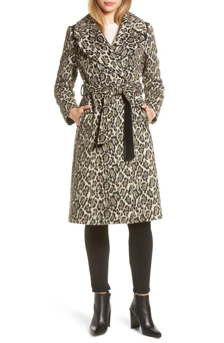VIA SPIGA Leopard Print Wrap Coat, Main, color, 250