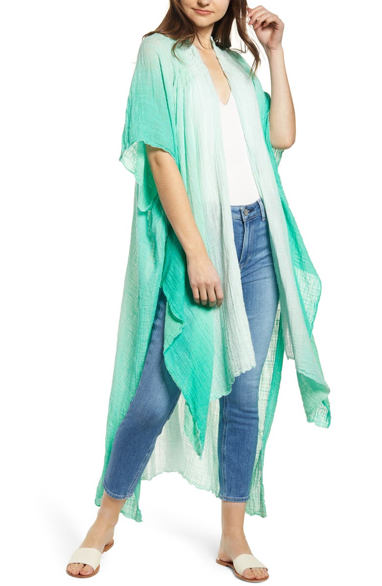 FREE PEOPLE Angelica Dip Dye Duster, Main, color, GREEN