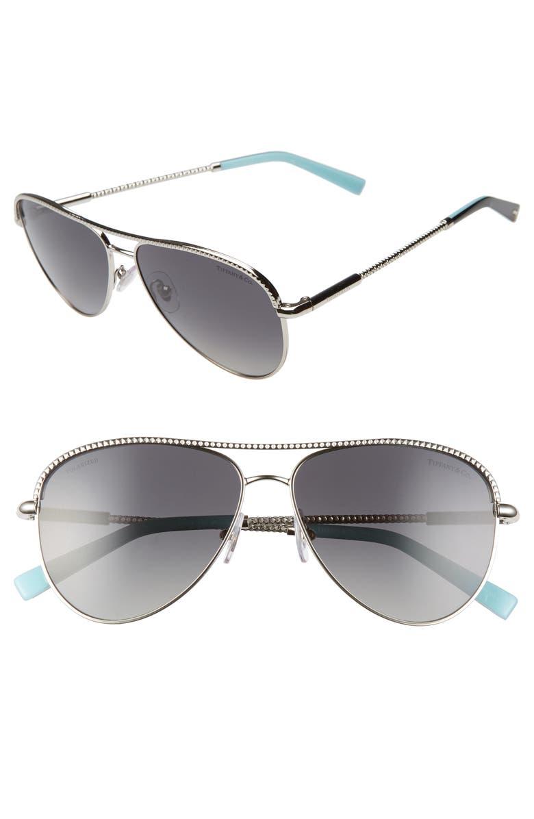 TIFFANY & CO. 57mm Polarized Aviator Sunglasses, Main, color, SILVER/ POLAR GREY GRADIENT