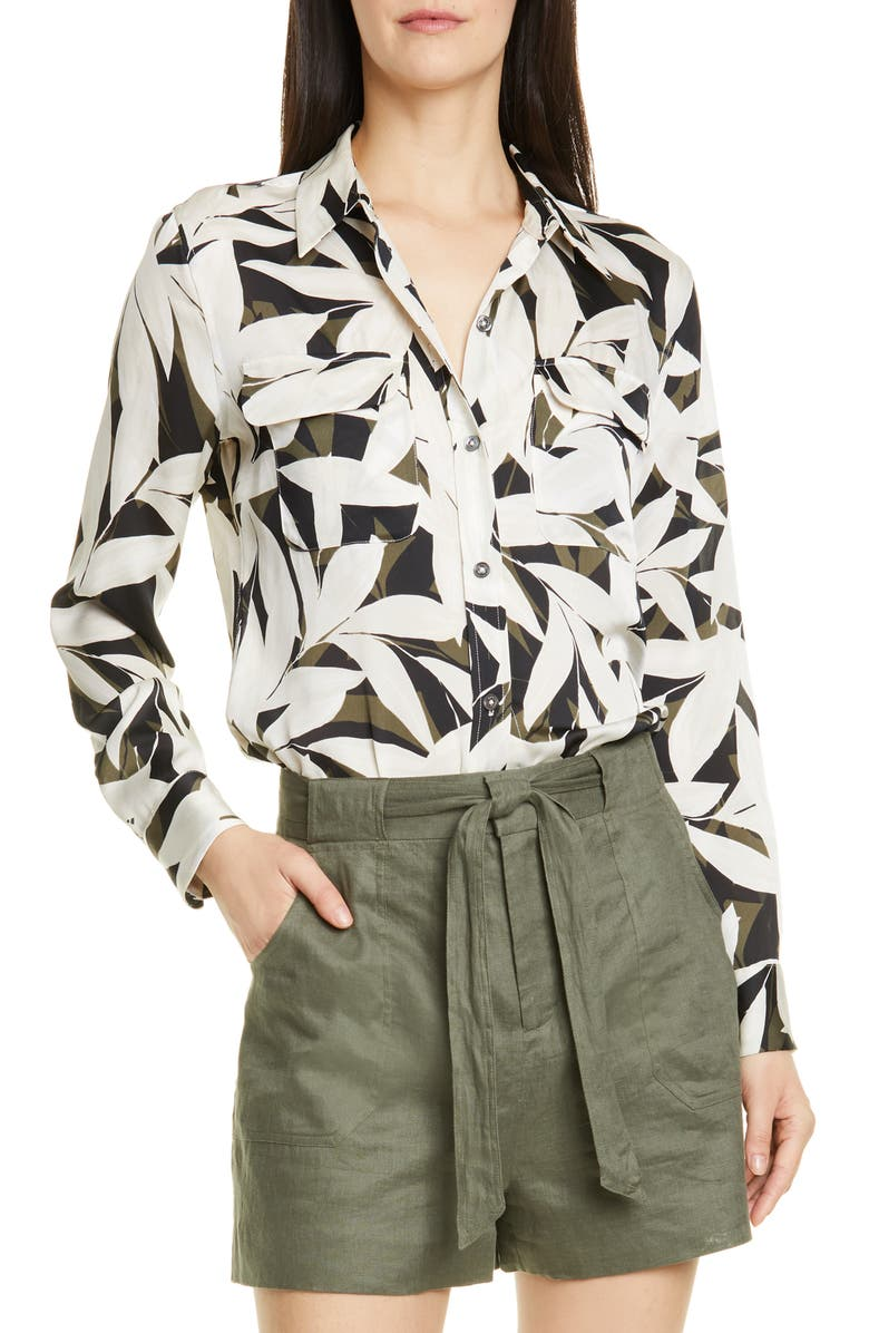 EQUIPMENT Slim Signature Print Shirt, Main, color, 001