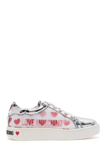 Image of LOVE Moschino Metallic Heart Leather Sneaker