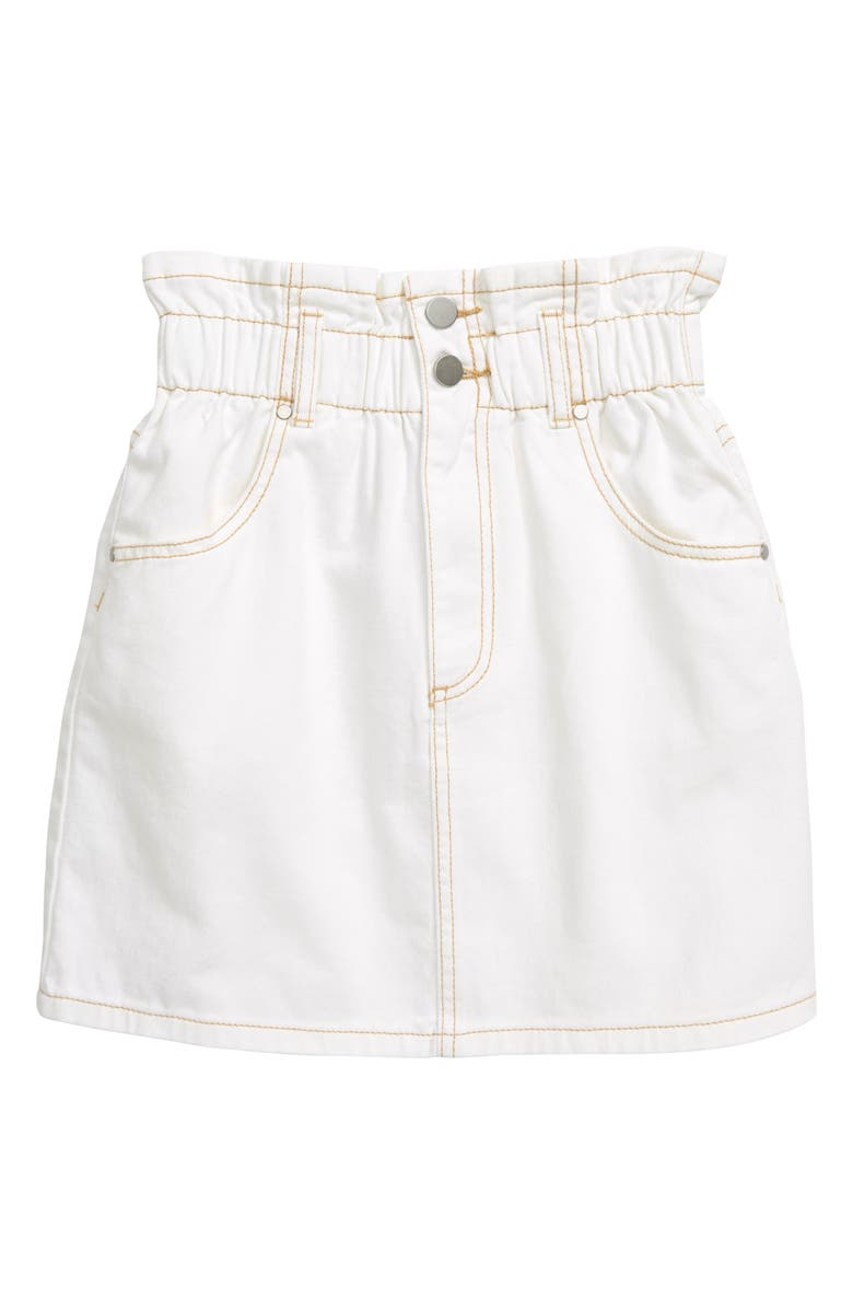 SEED HERITAGE Paperbag Waist Denim Skirt, Main, color, WHITE WASH