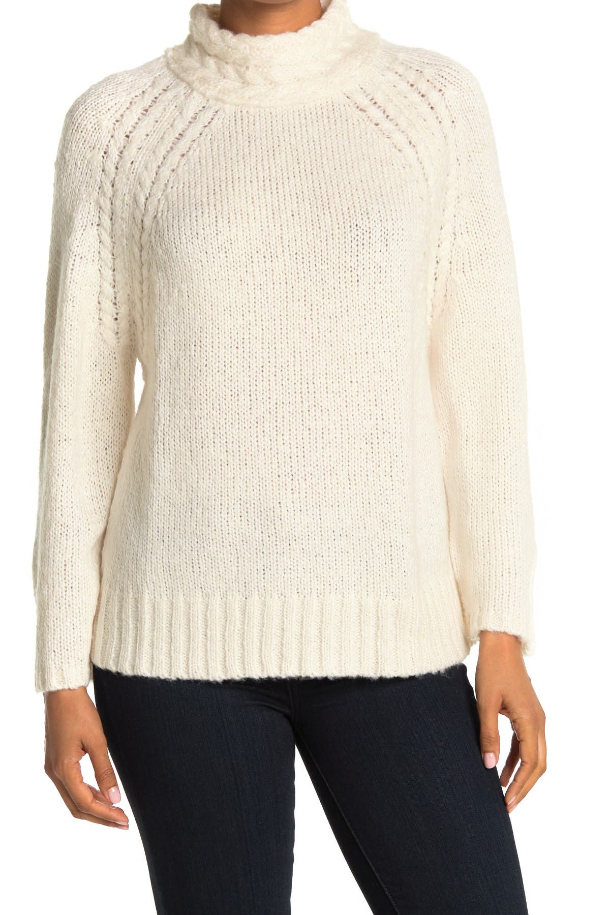 Image of Ceny Cable Mock Neck Raglan Pullover Sweater