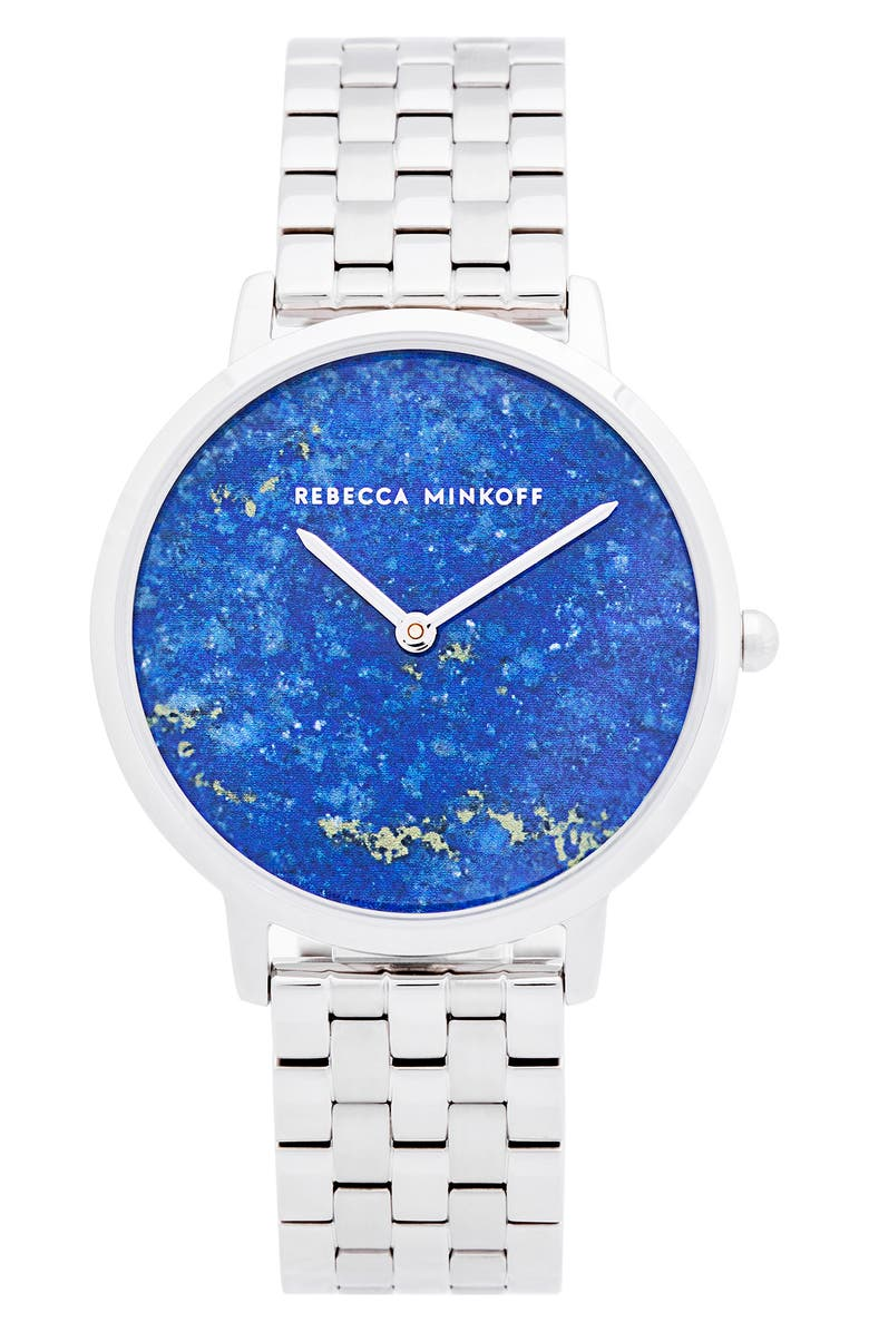 REBECCA MINKOFF Major Bracelet Watch, 35mm, Main, color, SILVER / BLUE/ SILVER