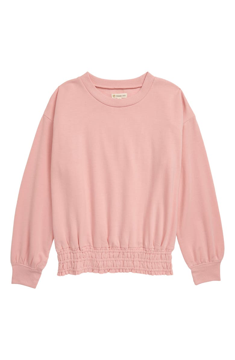 TUCKER + TATE Bubble Sleeve Fleece Sweatshirt, Main, color, PINK BRIDE