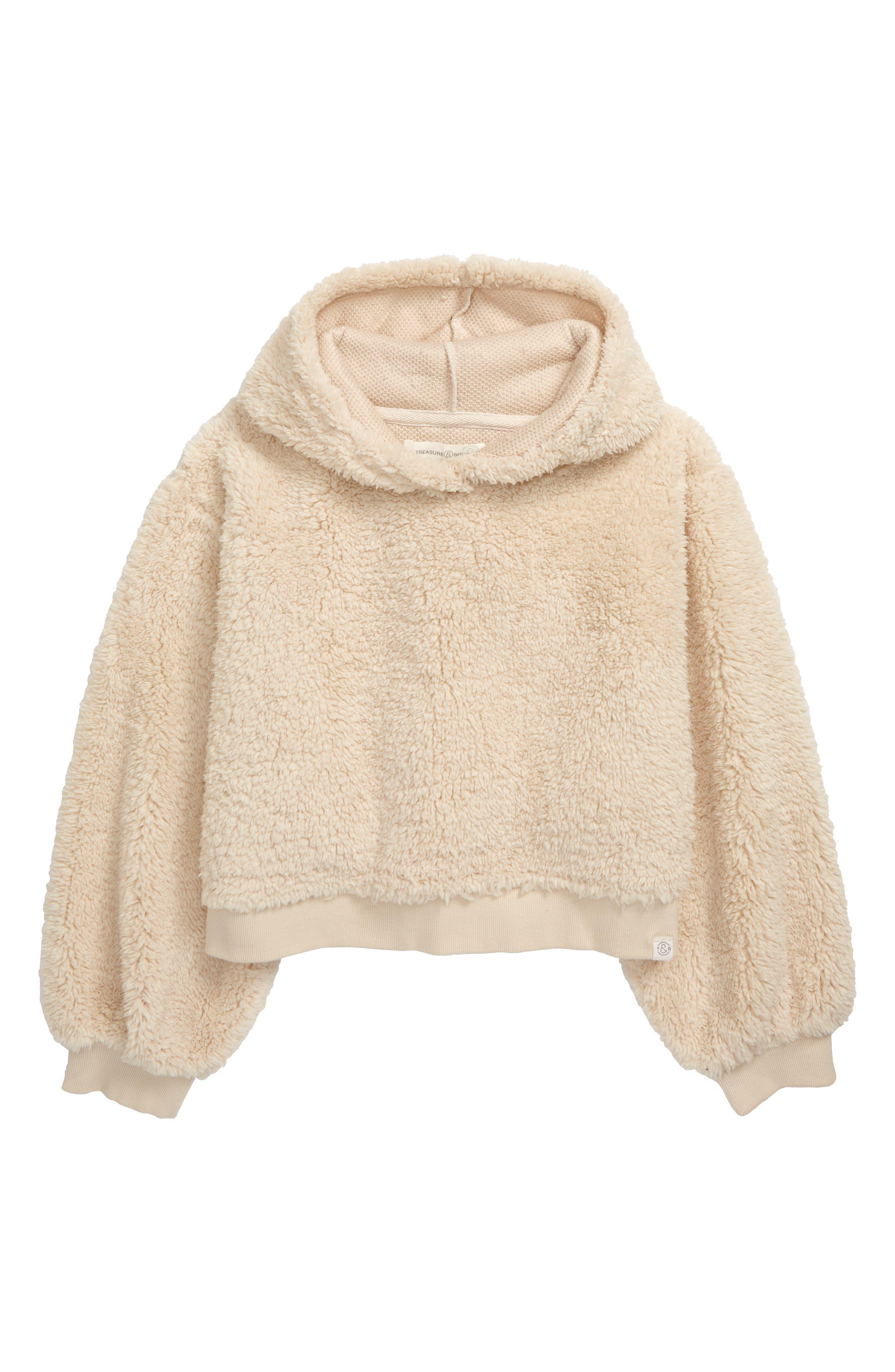 Girls Treasure  Bond Fuzzy Hoodie Size XL (1416)  Ivory