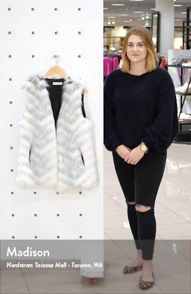 Chevron Faux Fur Vest, sales video thumbnail