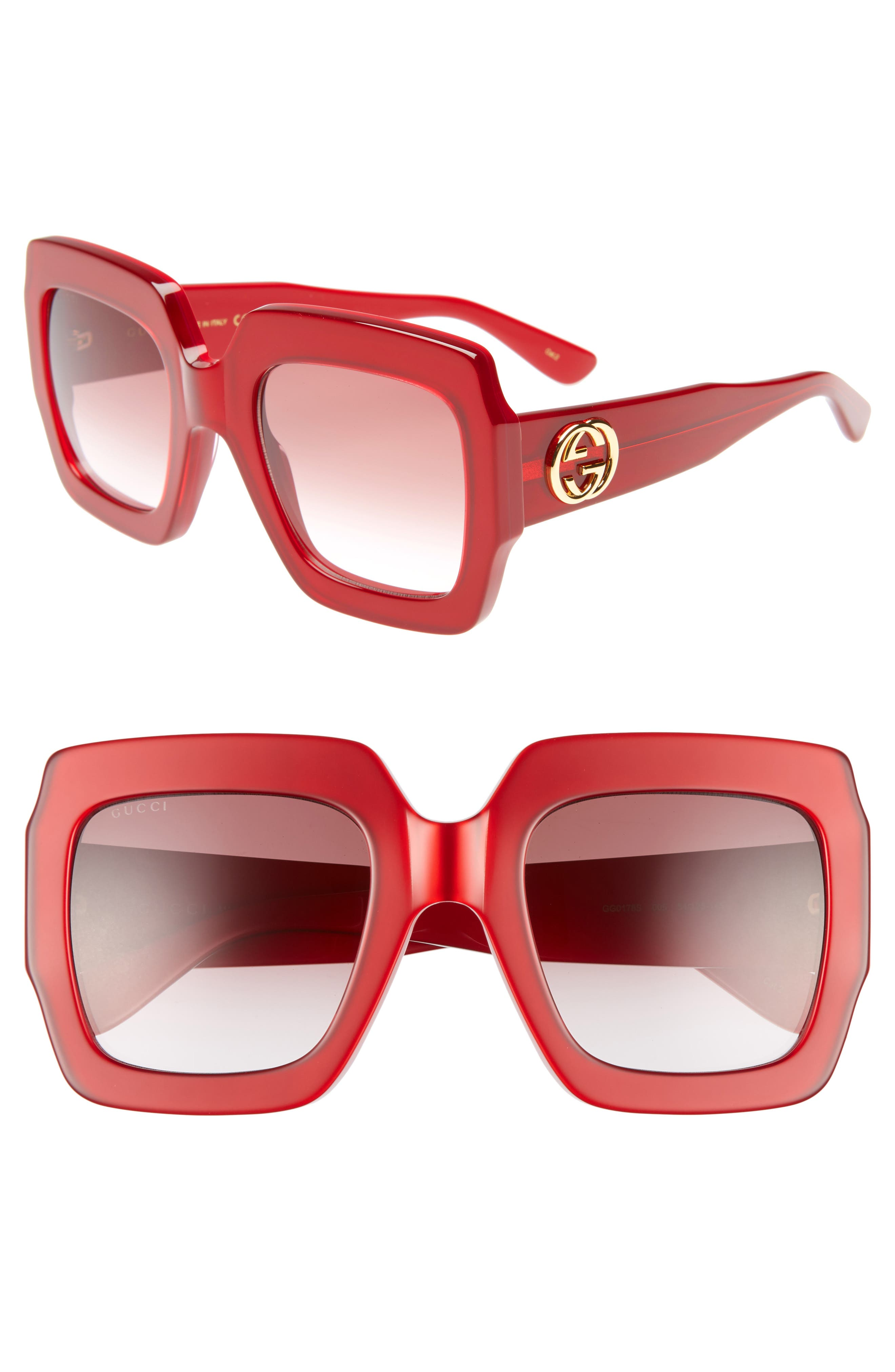 Gucci 5m Square Sunglasses - Shny Mltilay Glossy Red/ Red