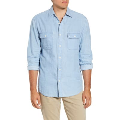 Faherty Penny Regular Fit Button-Up Work Shirt, Blue