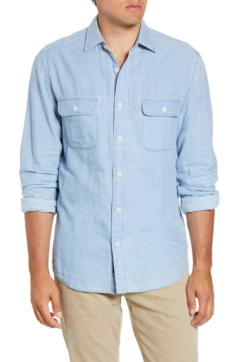 FAHERTY Penny Regular Fit Button-Up Work Shirt, Main, color, INDIGO CHAMBRAY