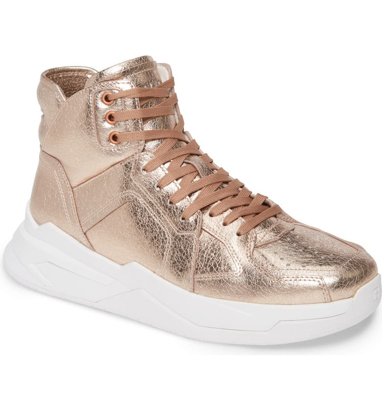BALMAIN B Ball Metallic High Top Sneaker, Main, color, ROSE GOLD/ WHITE